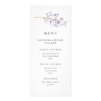 Flores e menu roxos do casamento da aguarela do 10.16 x 22.86cm panfleto