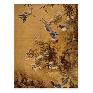 Flores e pássaro por Hsiao Yung Cartão Postal