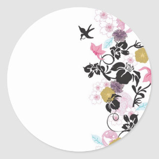 Flores e pássaros japoneses adesivo redondo