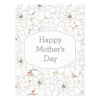 Flores elegantes do dia das mães feliz cartão postal