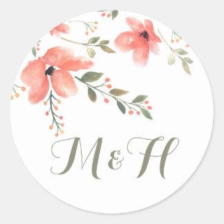 Flores elegantes florais da Etiqueta-Aguarela do Adesivo