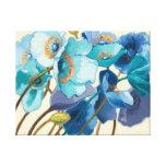 Flores em máscaras diferentes de roxo e de azul impressão em tela canvas