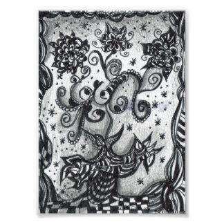 Flores em um impressão inspirado vaso da arte impressão de foto