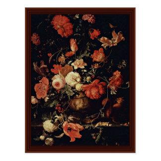 Flores em um vaso pelo Mignon Abraham Cartoes Postais