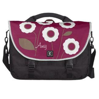 Flores estilizados, nas bolsas customizáveis bolsa para computador portátil