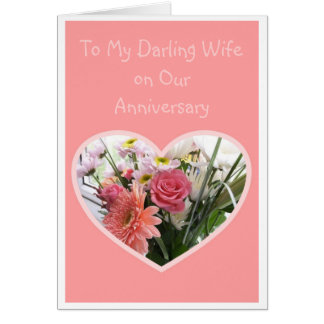 Flores felizes da esposa do aniversário de casamen cartao