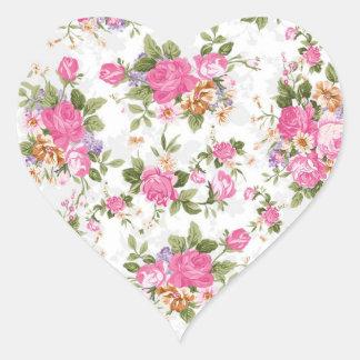 Flores femininos elegantes bonitas dos rosas do adesivo coração