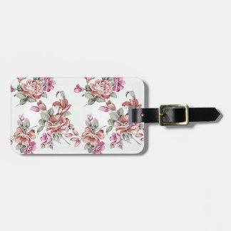 Flores femininos gastos chiques do vintage etiqueta de bagagem
