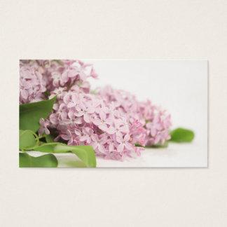Flores florais do Lilac no fundo branco Cartão De Visitas