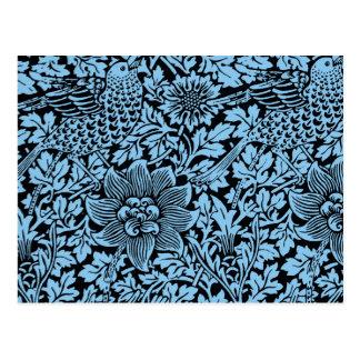 Flores florais do pássaro do teste padrão de cartão postal