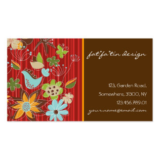 Flores florais lunáticas vermelhas do pássaro da modelos cartões de visita