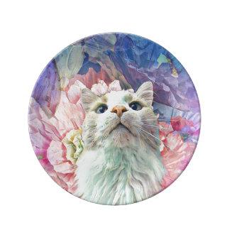 """Flores & Flutterbys 8,5"""" prato de porcelana"""