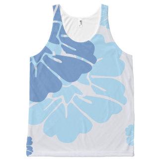 Flores havaianas azuis do estilo regata com estampa completa