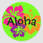 Flores havaianas corajosas e brilhantes adesivos redondos