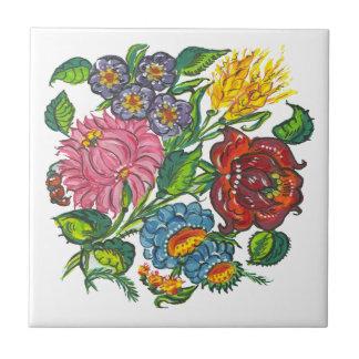 Flores húngaras azulejo de cerâmica