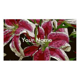 Flores impressionantes do lírio branco modelos cartões de visitas