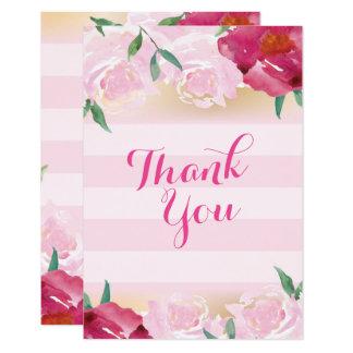 Flores & listras cor-de-rosa dos cartões de