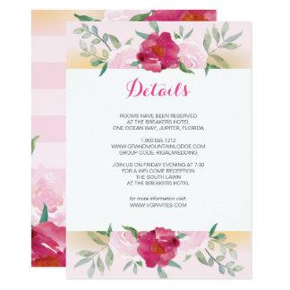 Flores & listras do rosa do cartão de detalhes convite 11.30 x 15.87cm