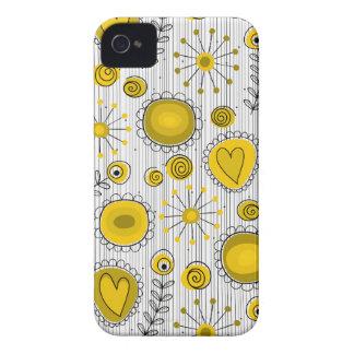 Flores lunáticas na caixa corajosa amarela de capas para iPhone 4 Case-Mate