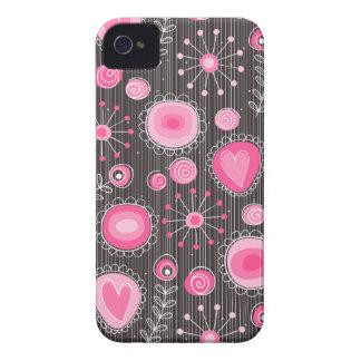 Flores lunáticas na caixa corajosa cor-de-rosa de capa para iPhone 4 Case-Mate