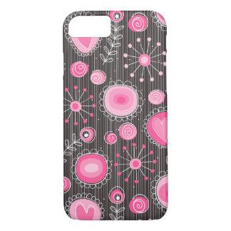 Flores lunáticas no caso cor-de-rosa do iPhone 7 Capa iPhone 7