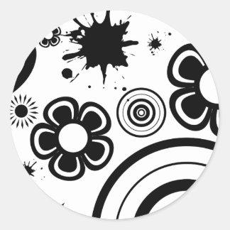 Flores lunáticas pretas, círculos, teste padrão do adesivo redondo