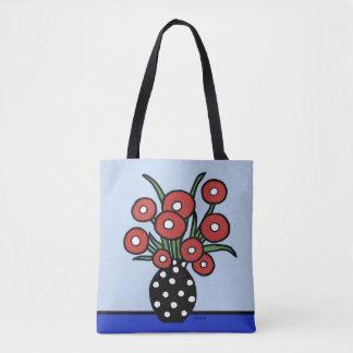 Flores no bolsa vermelho
