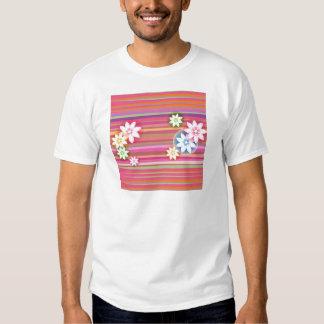 Flores no design gráfico floral da listra colorida tshirt