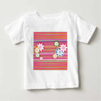 Flores no design gráfico floral da listra colorida tshirts
