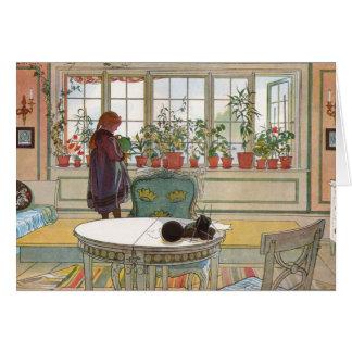 Flores no Windowsill por Carl Larsson Cartão Comemorativo