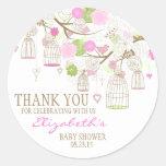 Flores & obrigado dos Birdcages você etiqueta do c Adesivo Redondo