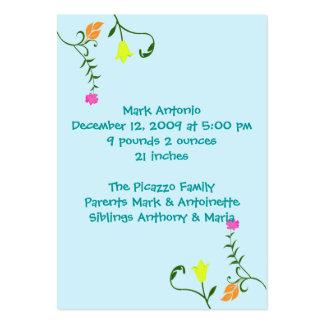 Flores para cartões do anúncio do nascimento do cartão de visita grande