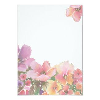 Flores para casamentos românticas da aguarela convite 11.30 x 15.87cm