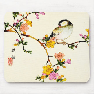 Flores & pássaro coloridos japoneses Mousepad