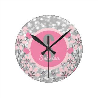 Flores personalizadas Bokeh cinzento cor-de-rosa Relógios Para Pendurar