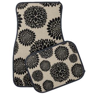 Flores pretas de creme tapete de carro