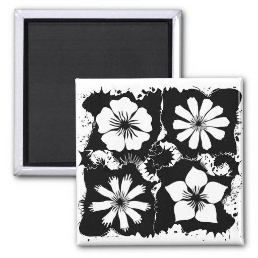 flores quadradas imãs de refrigerador