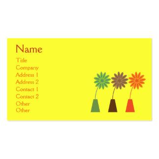Flores retros bonito no costume do amarelo do vaso cartão de visita