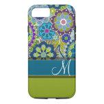 Flores retros coloridas com monograma capa iPhone 7