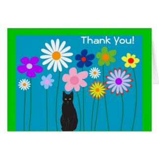 Flores retros e obrigado do gato preto você cartõe cartão de nota