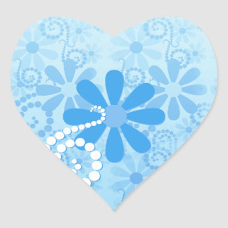 Flores retros florais azuis femininos adesivo de coração