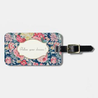 Flores românticas adoráveis - mensagem inspirador etiqueta de bagagem