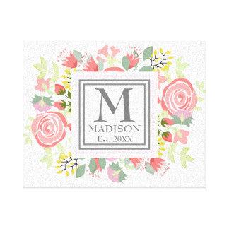 Flores românticas bonitos com monograma feito sob