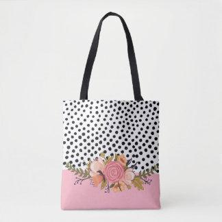 Flores românticas do jardim & bolinhas brancas bolsa tote
