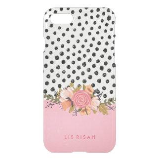 Flores românticas do jardim & bolinhas brancas capa iPhone 8/7
