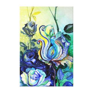 Flores rosas fantasia pintura de aguarela impressão em canvas