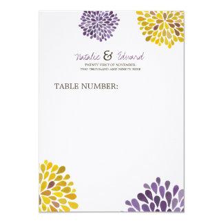 Flores roxas & amarelas do menu do casamento da convite 11.30 x 15.87cm
