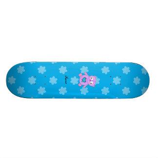 Flores roxas conhecidas personalizadas do azul da  shape de skate 19,7cm