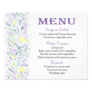 Flores roxas do amarelo da lavanda do menu -