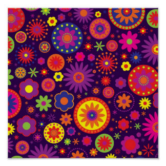 Flores roxas do arco-íris do Hippie Poster
